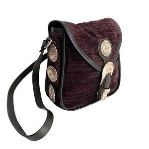 Vintage Western Conch Black Leather Crossbody Bag